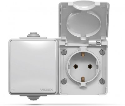 Розетка VIDEX BINERA IP65 наружная 1ая с заземлением и выключатель 1кл серый (VF-BNW3-G)