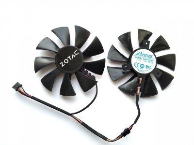 Вентилятор Apistek для видеокарты Zotac GA91O2H (GA91S2H GFY09010E12SPA) комплект 2 шт (№37)