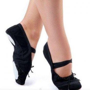 Балетки танцювальні Dance&Sport 011 з нашитою шкірою на носку та шкіряною підошвою Чорні