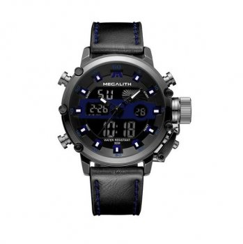 Годинники чоловічі Megalith 8051M Black-Dark Gray-Blue