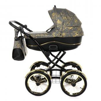 Всесезонна дитяча коляска 2 в 1 для новонароджених Tako Bella Donna 02 Чорний з золотистим