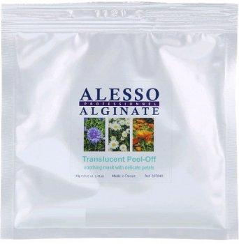 Альгинатная полупрозрачная маска ALESSO Translucent Flower Petals c Нежными лепестками успокаивающая для чувствительной кожи 40гр