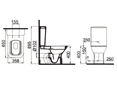 Унитаз-компакт с сиденьем (SETK3504-0316-001-1-6100) IDEVIT дюропласт / одинарный смыв Nova SETK3504-0316-001-1-6100