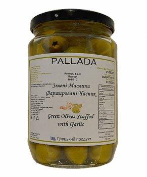 Оливки PALLADA S.Colossal 111-120 фарш. чесноком 0,72 кг зеленые