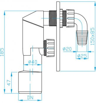 Сифон внутреннего монтажа для стиральной машины PLAST BRNO колбовый 20-25 мм 40/50 мм с пластиковой панелью (EPPP450)