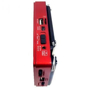 Акустическая система аккумуляторный радиоприемник колонка с радио и USB выходом под флешку Power Bank Красный Golon (RX-181)
