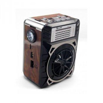 Акустическая система радиоприемник FM аккумуляторный с USB выходом колонка с радио Коричневый Golon (rx-9122)