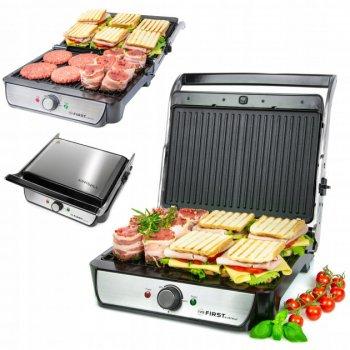 Притискної електричний гриль-тостер, барбекю для м'яса, овочів, паніні контактний закритий 2000 Вт Сріблясто-чорний First (FA-5344-2)