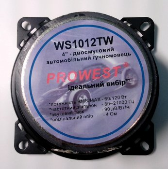 "Динамик Prowest 4"" 2way, 70x10мм, магнит 4Om, WS1012TW"