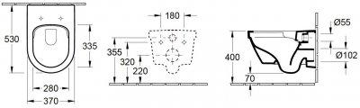 Унитаз подвесной VILLEROY & BOCH Archetectura New 4694HR01 DirectFlush с сиденьем Soft Close 98М9C101 дюропласт