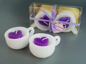 Свеча Арома Чашка и Сердце Sakura Фиолетовая Набор 2 шт 8.5 x 6.5 x 4.0 см