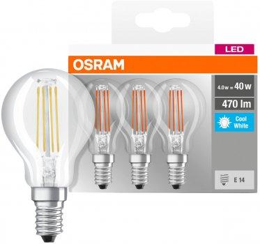 Набір світлодіодних ламп OSRAM BASE P45 куля 4 W 4000 K Filament E14 3 шт. (4058075819733)