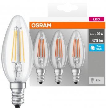 Набір світлодіодних ламп OSRAM BASE B35 свічка 4 W 4000 K Filament E14 3 шт. (4058075819719)