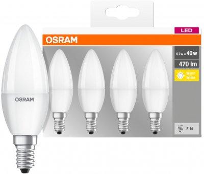 Набір світлодіодних ламп OSRAM BASE B35 свічка 5 W 2700 K E14 4 шт. (4058075819474)