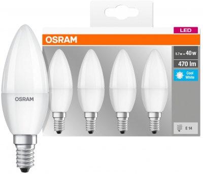 Набір світлодіодних ламп OSRAM BASE B35 свічка 5 W 4000 K E14 4 шт. (4058075819610)