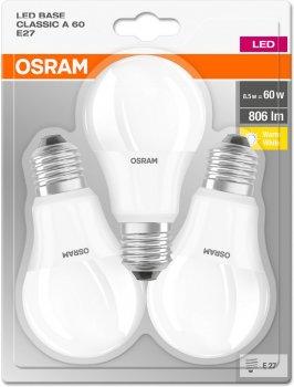 Набір світлодіодних ламп OSRAM BASE A60 8.5 W 2700 K E27 3 шт. (4052899972476)