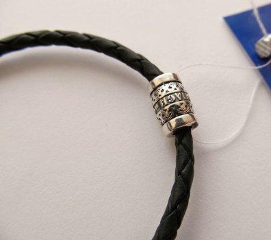 Кожаный шнурок на руку со вставкой из серебра SilverArtisan 0.0072-1 размер 17,5