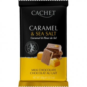 Шоколад Cachet Caramel Sea salt молочний з карамеллю і сіллю №46 300г.