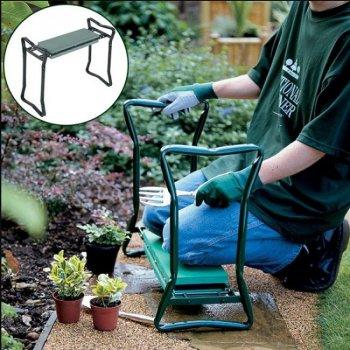 Универсальная скамейка-подставка перевертыш под колени для огорода и дачи Supretto Зеленый (4837)