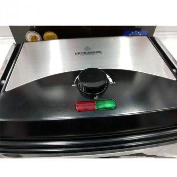 Гриль Crownberg CB-1067 електричний притискної з терморегулятором 2000Вт Сріблясто-чорний
