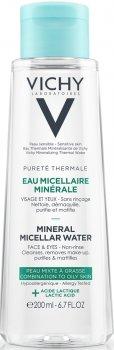Міцелярна вода Vichy Purete Thermale для жирної та комбінованої шкіри обличчя й очей 200 мл (3337875674454)