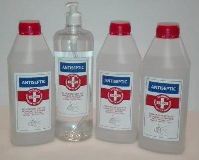 Антисептик для чутливої шкіри та рук Antiseptic ( пляшка 1 л з дозатором, пляшка без дозатора 1л. 3шт.) Набір