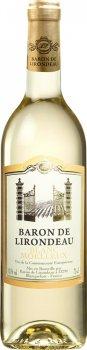 Упаковка вина Baron de Lirondeau белое полусладкое 10.5% 0.75 л х 6 шт (3211209194989)