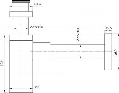 """Сифон для раковины IMPRESE Grafiky колбовый 1 1/4""""x32 мм черный ZMK041807600"""
