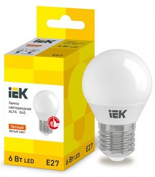Лампа LED ALFA G45 куля 6Вт 230В 3000К E27 IEK (LLA-G45-6-230-30-E27)