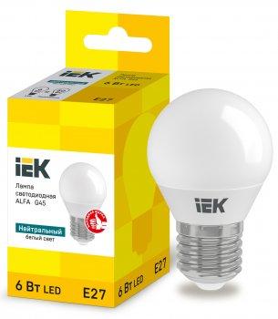 Лампа LED ALFA G45 куля 6Вт 230В 4000К E27 IEK (LLA-G45-6-230-40-E27)