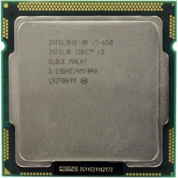 Процессор Intel Core i5-650 Tray (LGA1156/ 2x3.2GHz / 2.5GT/s / 4Mb / 73 Вт ) Б/У