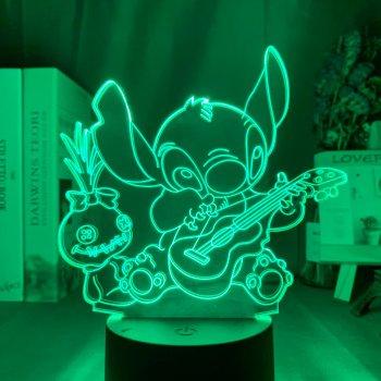 Настільний світильник-нічник Стіч настільна 3D Лампа Stitch 16 Кольорів Ліло і Стіч (7423)