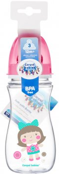 Бутылка с широким отверстием антиколиковая Canpol babies Easystart Цветные зверьки 300 мл Розовая (35/204 Розовый)