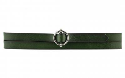 Женский кожаный узкий ремень T.I.A. 1.5 см для джинсов или платья зеленый 100-120 см (T1525)