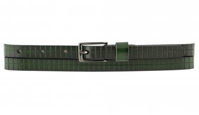 Женский кожаный узкий ремень T.I.A. 1.5 см для джинсов или платья темно-зеленый 100-120 см (T1549)