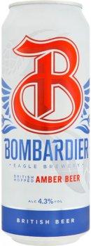 Упаковка пива Bombardier янтарное фильтрованное 4.3% 0.5 л х 24 шт (5000264011793)