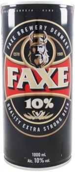 Пиво Faxe 10 светлое фильтрованное 10% 1 л (5741000007709)