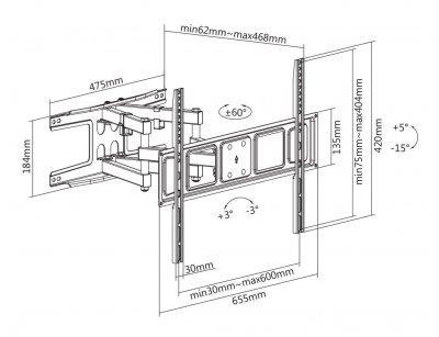 Кронштейн Satelit 39-80PIVOT600A