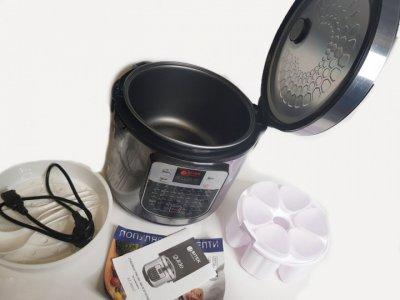 Мультиварка с йогуртницей BITEK 45 программ, 1500 Ватт, 6 литров Серебристая