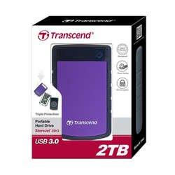 """Зовнішній жорсткий диск HDD 2.5"""" USB 3.0, 2Tb Transcend StoreJet 25H3 Black/Violet (TS2TSJ25H3P)"""