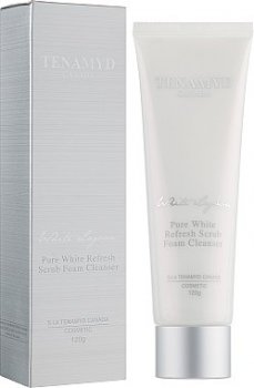 Скраб для лица Отбеливающий массажный скраб для кожи с пигментацией Tenamyd Canada Pure White Refresh Scrub Foam Cleanser 120g (8807755460804)