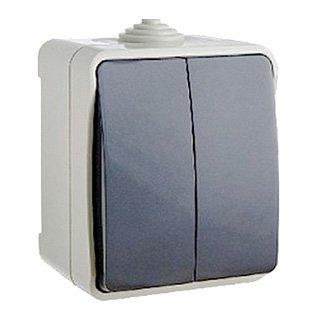 Выключатель двухклавишный ElectrO ВС20-2 УФ-защита IP54 2 шт (2VS2021654)