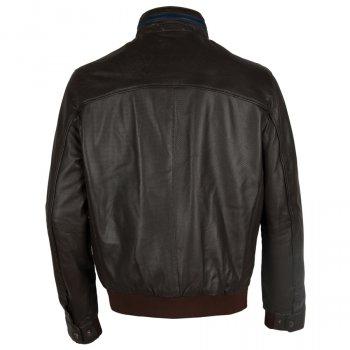 Чоловіча шкіряна куртка з перфорацією Bugatti Темно-коричневий 5931-611 751 (ViMoxie)