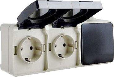 Выключатель одноклавишный ElectrO и розетка с заземлением двойная ВС20-2РК1В УФ-защита IP54 (VS202RK1V1654)