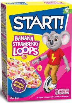 Упаковка колец Start! со вкусом клубники и банана 250 г х 12 шт (4820008129598)