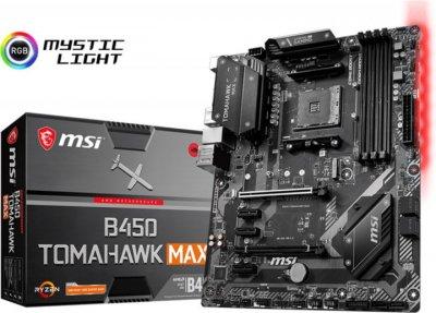 Мат. плата MB MSI B450 TOMAHAWK MAX (B450/sAM4/4xDDR4 4133(OC)/2хРСІе x16/3хРСІе x1/1x M. 2 Socket 3/6xSATA3/RAID 0,1,10/GLan/DVI, HDMI, 1xUSB3.2 Type-C, 3xUSB3.2, 2xUSB2.0/Audio 7.1 Ch/ATX)