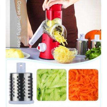 Овощерезка мультислайсер Tabletop Drum Grater Kitchen Master Терка для овощей и фруктов 3 насадки Красная