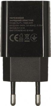 Сетевое зарядное устройство Florence 1USB 2A + microUSB Cable Black (FL-1020-KM)