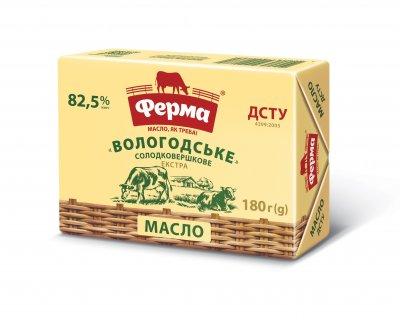 Масло солодковершкове Вологодське 82,5% Ферма брикет 180г