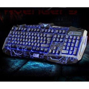 Провідна ігрова клавіатура Atlanfa з 3-я підсвічуваннями і мишкою V-100 Комплект чорний